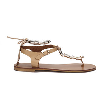 Apricot Beaded T-bar Shape Lace-up Flat Sandals