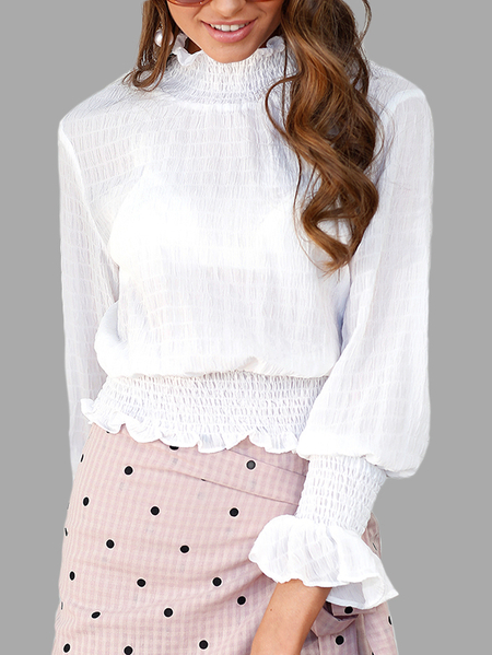 White Crepe High Neck Long Lantern Sleeves Crop Top