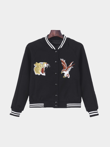 Black Embroidery Button Closure Jacket With Side Pockets