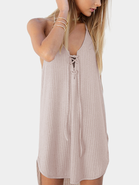 Lace-up Design Irregular hem Dress