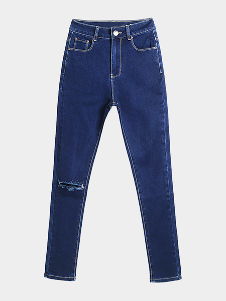 Jeans Skinny Azul Con Rips