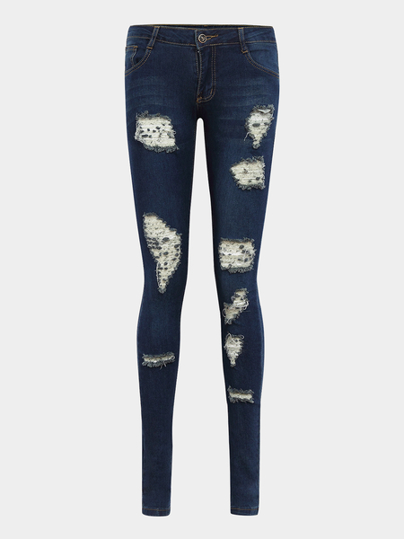 Dark Blue Skinny Jeans with Rips Detalhes