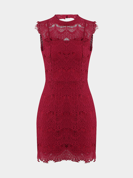 Sexy Burgundy Lace Blackless Mini Dress