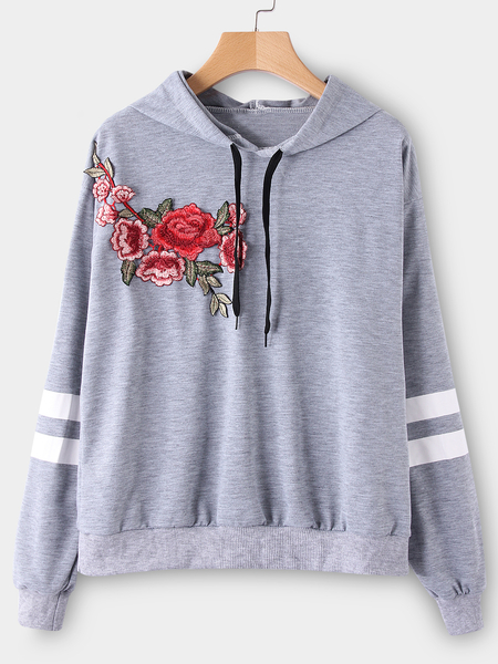 Grey Pullover Sports Hoodies With Embroidered