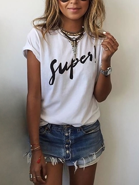 White Basic Round Neck SUPER Letter Print Tee