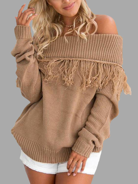 Camel Tassel Embellished Off Shoulder Sweater