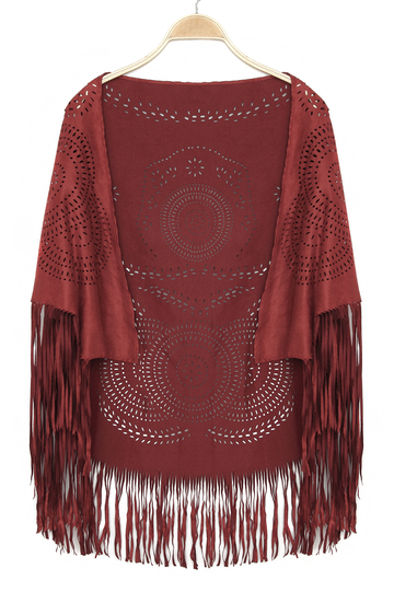 Red Vintage Pattern Bohemia Cape With Tassel Trims