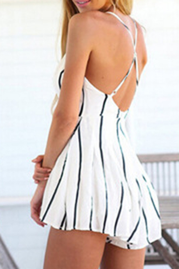 Sexy Plunge V-neck Crossed Straps Stripe Playsuit