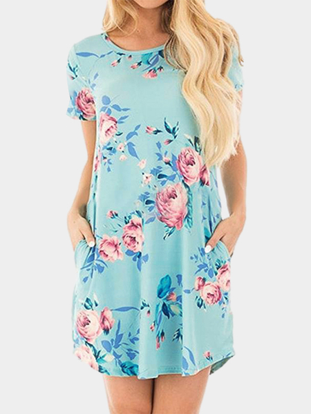 Green Random Floral Printed A-line Mini Dress