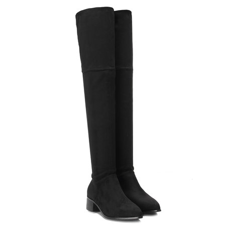 Black Suede Buckle Design Over the Knee Chunky Heels Boots