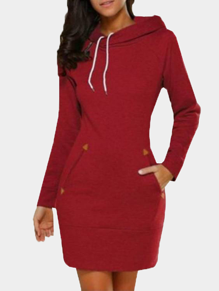 Red Side Pockets Design A Line Hoodie Dress