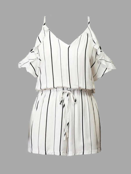Stripe Pattern V-neck Cold Shoulder Playsuit