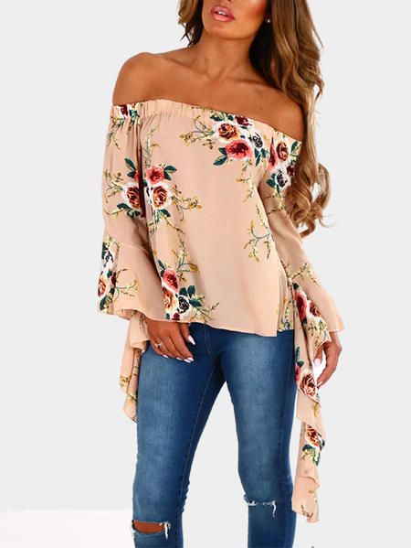 Nude Off-The-Shoulder Multi Floral Flare Sleeve Top