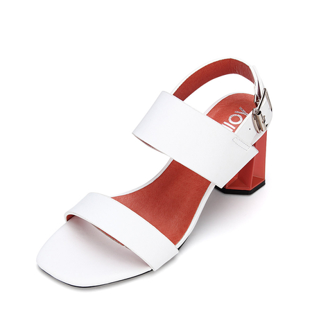 White Leather Look Sling Back Heeled Sandals