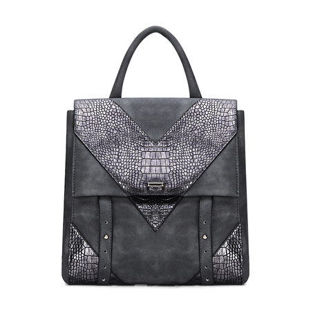 Dark Grey Leather-look Flap Front Backpack in Lizard Effect