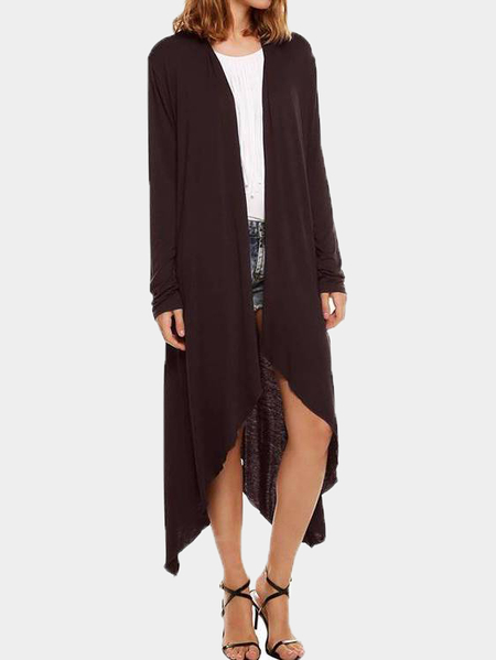 Dark Brown Waterfall Longline Jersey Cardigan