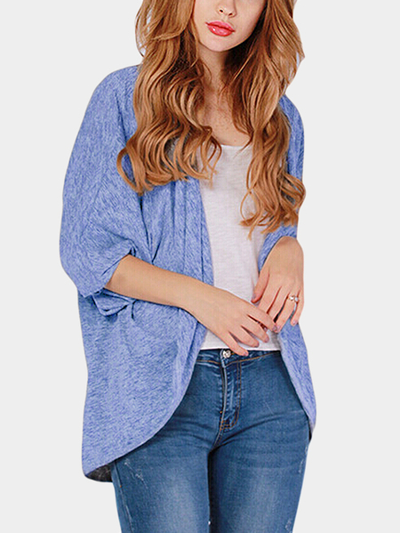 Blue Long Sleeves Irregular Hem Causal Cardigan