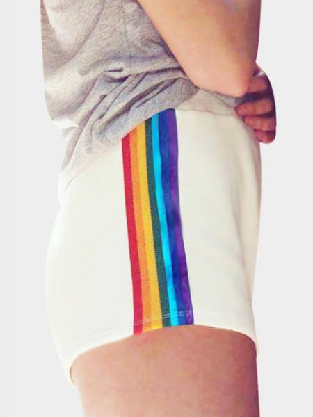 Active White Rainbow Details Sport Shorts