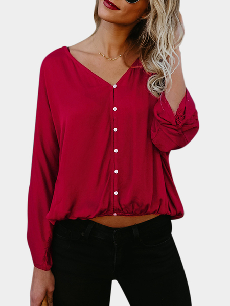 Burgundy Pleated Design V-neck Long Sleeves T-shirts