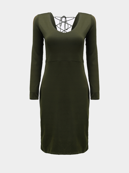 Назад Lace-up Midi Dress in Green
