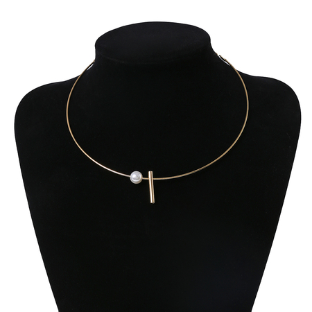 Gold-plated Pearl & Copper Pipe Pendant Necklace