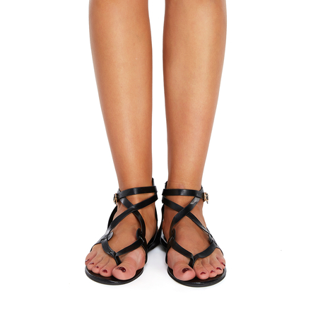 Black Criss Cross Metallic Buckle Sandals