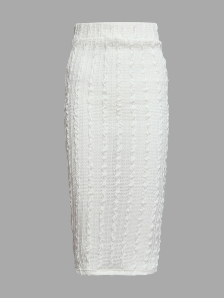 White High-waisted Threaded Detail Pencil Skirt