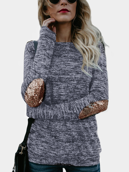 Dark Blue Sequins Embellished Round NEck Long Sleeves Bodycon Hem T-shirt