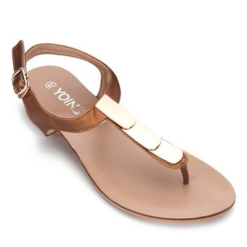 Brown Gold-tone Hardware Toe Post Flat Sandals