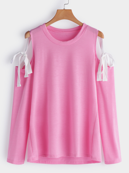 Pink Lace-up Design Cold Shoulder Long Sleeves T-shirts