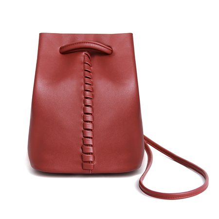 Drawstring Leather Bucket Bag in Red