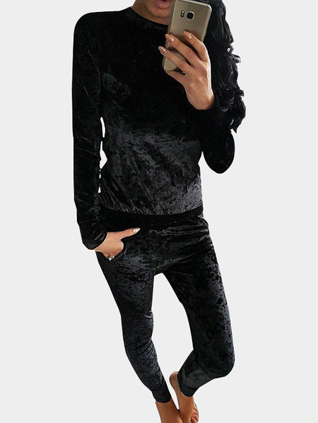 Black Velvet Crew Neck Top & Pants Co-ords With Pockets