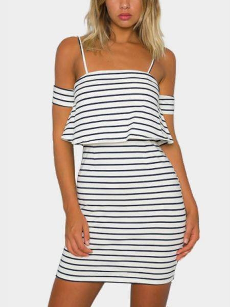 Detachable Adjustable Straps Stripe Mini Dress