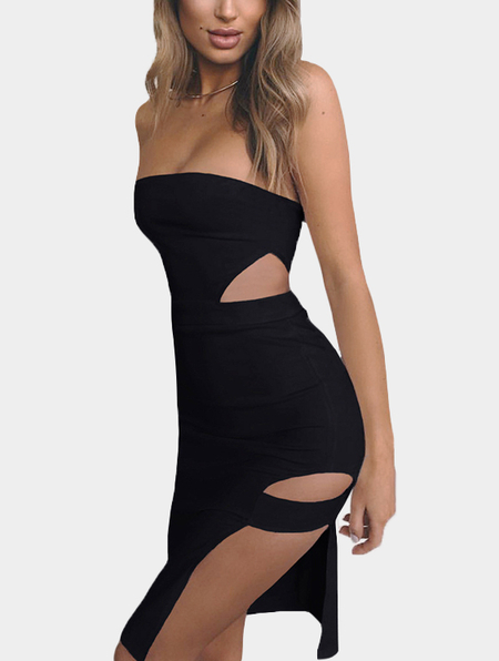 Black Tube Top Cut Out Splited Dress