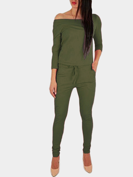Green Off The Shoulder Long Sleeves Drawstring Waist Jumpsuit