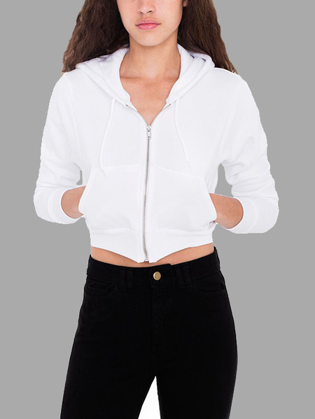 White Long Sleeves Zip Front Closure Crop Top