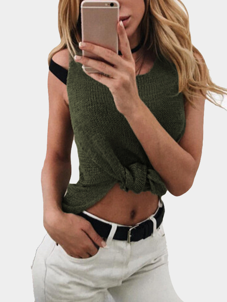 Green Knit Round Neck Sleeveless Splited Hem Vests