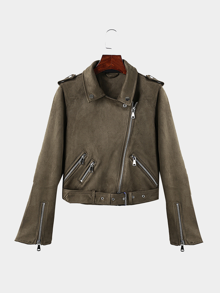 Plain Color Lapel Neck Zipper Biker Jacket with Zipper Pockets