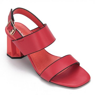 Red Leather Look Sling Back Heeled Sandals