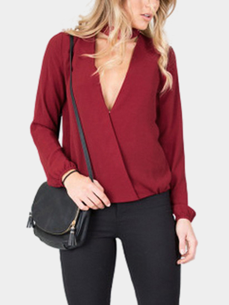 Red Halter Wrapped Button Curved Hem Long Sleeves T-shirt