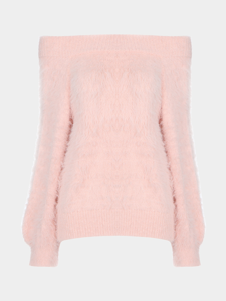 Pink Off Shoulder Chunky Furry Detail Jumper