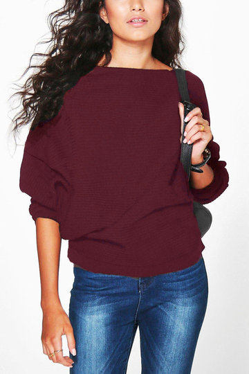 Burgundy Long Sleeves Loose Jumper