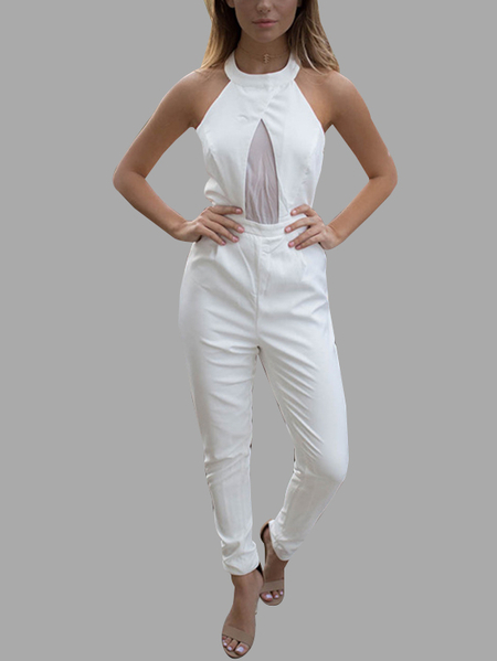 White Open Back Hollow Design Halter Sleeveless Sexy Jumpsuit
