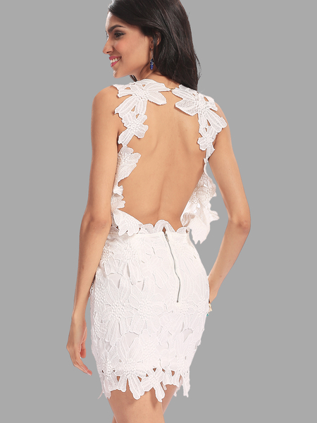 White Crochet Lace Backless Mini Dress