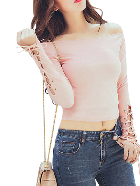 Pink Off Shoulder Lace-up Blusa de mangas compridas