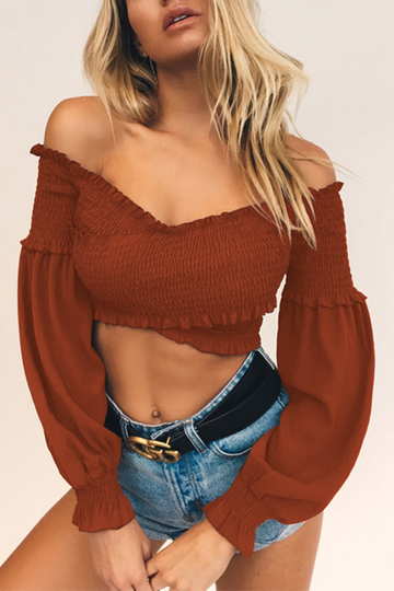 Brown Off-the-shoulder Lantern Sleeves Crop Top