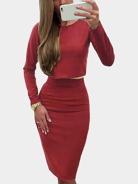 Red Casual Round Neck Plain color Suits & Co-ords