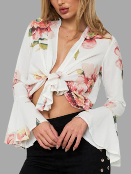 White Floral Print Long Flared Sleeved Tie Front Crop Top