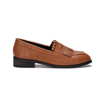 Brown Leather Look Fringed Toe Chunky Heel Slip-on Loafers