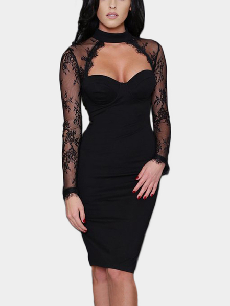 Black Crochet Lace Embellished Halter Long Sleeves Party Dress
